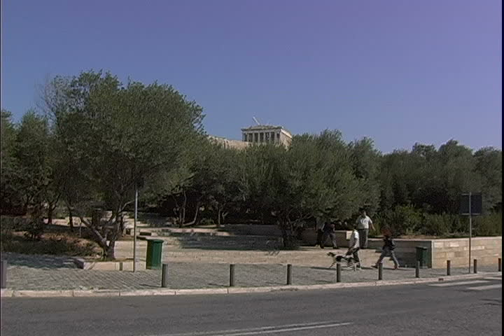 Park entrance at the Acropolis - SD stock footage clip