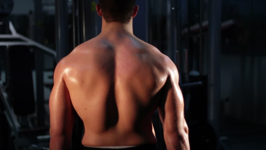 Bodybuilder training dorsal - HD stock footage clip