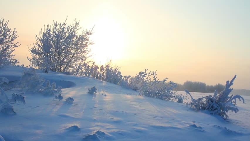 Sun rising - winter morning landscape | Shutterstock HD Video #2044118
