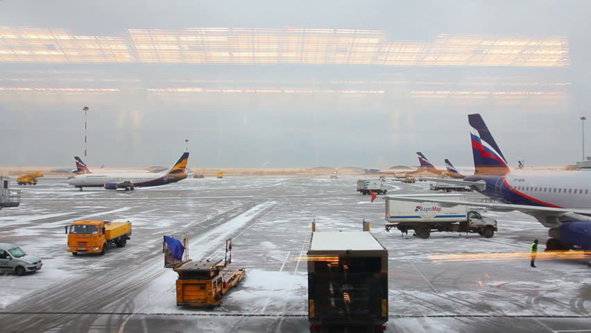 MOSCOW - DECEMBER 18: (Time lapse view) Airfield airport - view from the terminal on December 18, 2011 in Moscow, Russia.