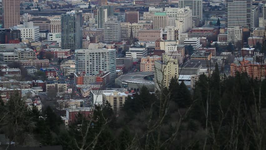 Portland Oregon Cityscape at Sunset - HD stock video clip