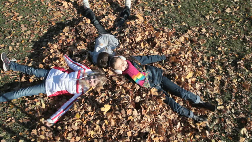 Overview of children playing with autumn leaves and making a mess - HD stock footage clip