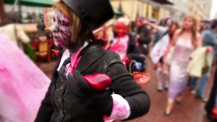 Bloody zombies crowd walk include newlyweds and bridesmaid - HD stock video clip
