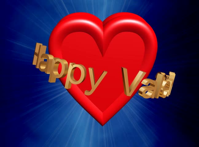 red heart rotating surrounded by gold happy valentine sign with rotating lens flare on the background,LOOP,uploaded exclusively here - SD stock video clip