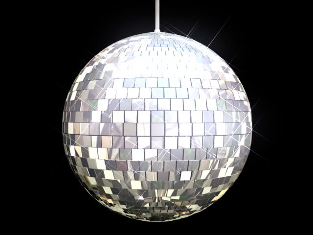 Disco Ball Mirrors Spin (PAL). Disco ball spinning and sparkling as it rotates on a perfect loop. Loops seamlessly. Alpha channel included for compositioning.