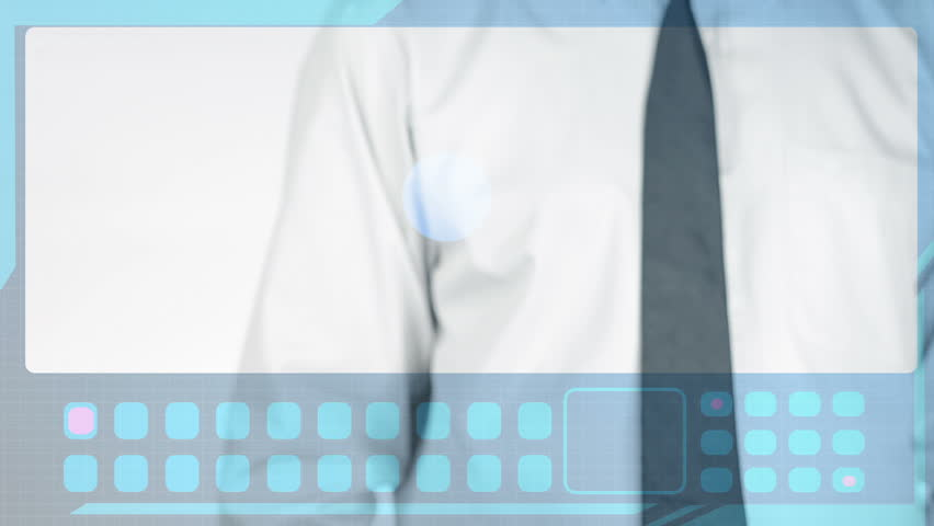 Businessman using a touch screen with photos and data. - HD stock video clip