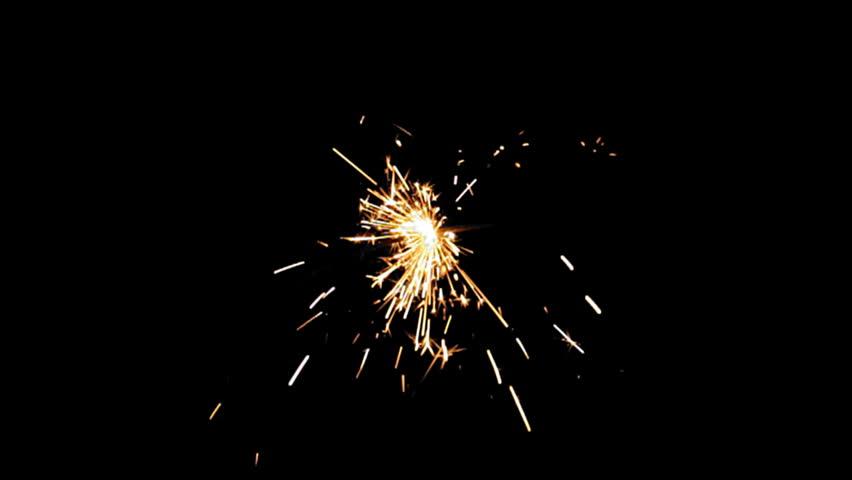 Sparkler Over Black (HD). Gun powder sparks shot against deep dark background. Ambient audio included. Slow Motion.   | Shutterstock HD Video #2079776