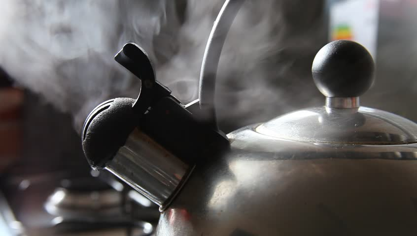 Close up shot of steaming tea