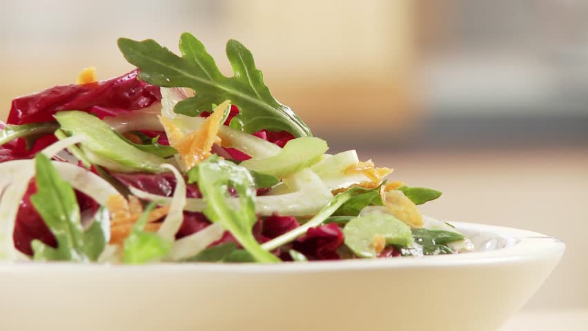 Mixed salad - HD stock footage clip