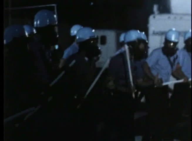 Policemen versus protestors during demonstration - SD stock footage clip