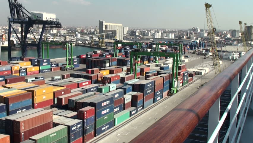 CASABLANCA, MOROCCO - MARCH 12: Panorama of containers terminal at harbor in Casablanca, Morocco on March 12, 2011.