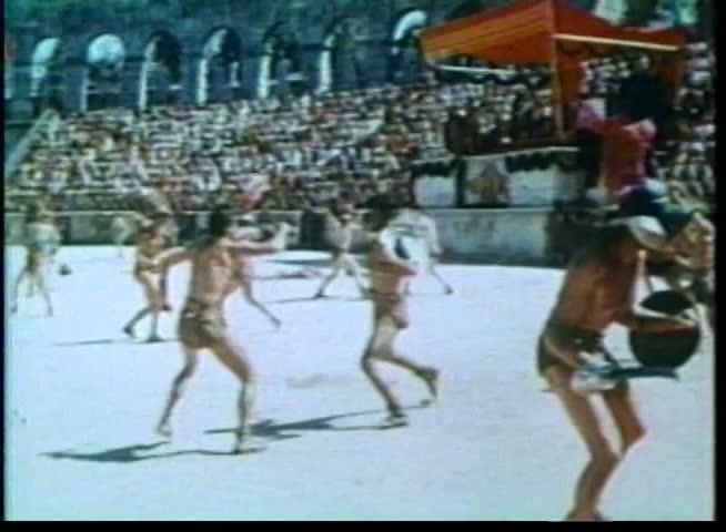Gladiators fighting in arena - SD stock video clip