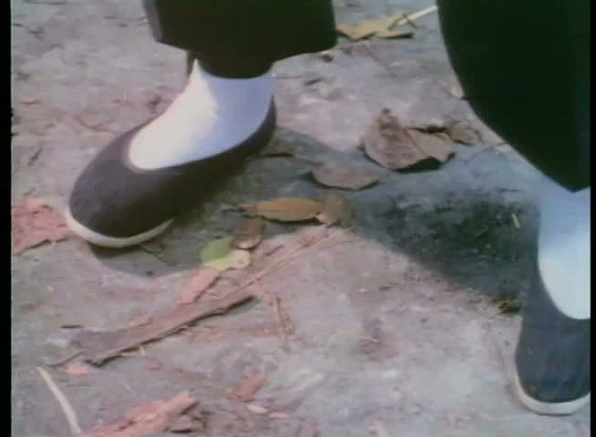 Close-up of feet in Chinese slippers practicing martial arts moves | Shutterstock HD Video #2110043