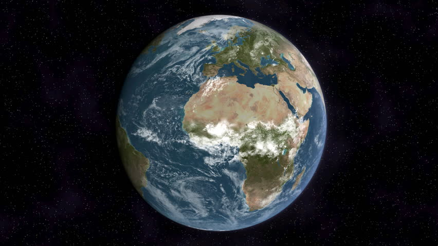 Realistic Earth slowly rotating around its axis (loop able).