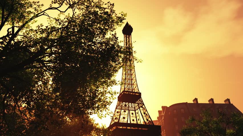 Sunset in Paris 3D animation | Shutterstock HD Video #2121104