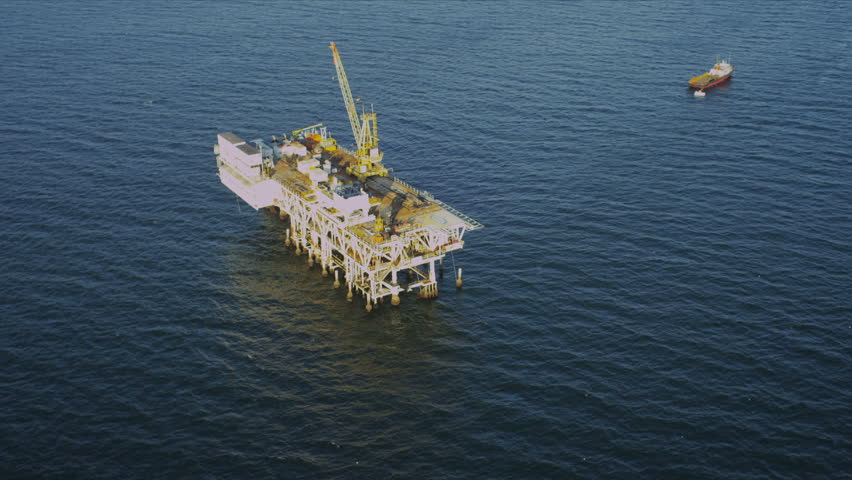 Aerial view of deep water oil production platform, America, USA - HD stock video clip
