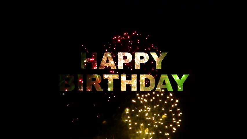 Happy birthday phrase with fireworks background