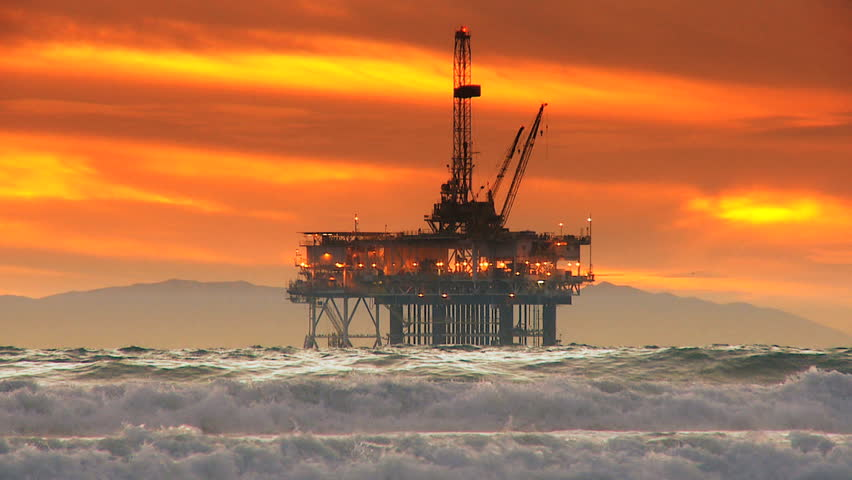 Deep sea oil drilling platform silhouette - HD stock footage clip