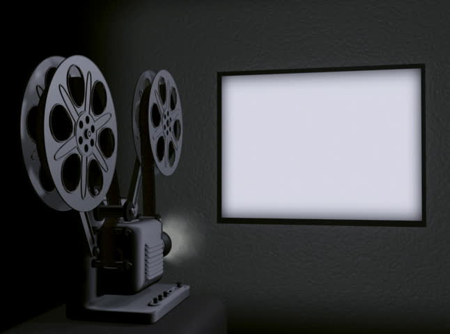 Movie Projector Screen Loop NTSC. Movie projector screen in 4x3 format being projected by a realistic 3D rendered projector with moving film reels and flicker. Included is audio of film advance reel.  - SD stock video clip