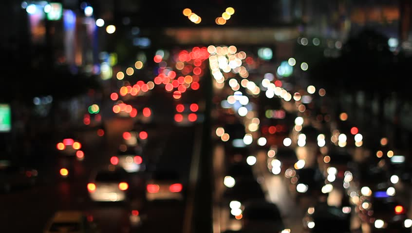 Bokeh Heart Shape Of Light Background Stock Footage Video: Defocused Heart Shape Night Traffic Lights-Bangkok Stock