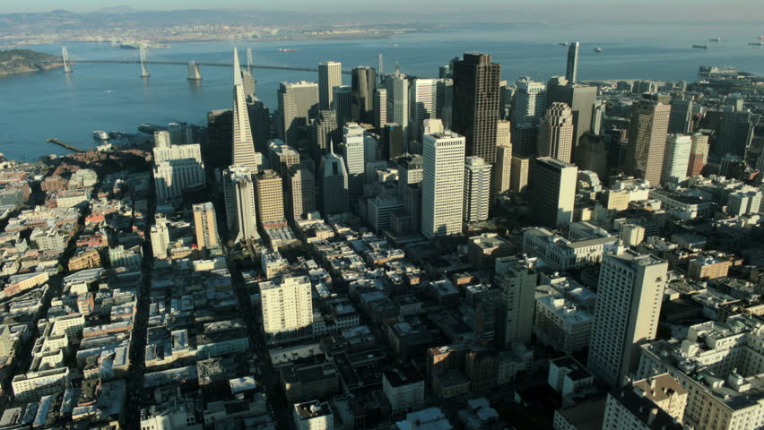 Aerial view of downtown San Francisco and the Oakland bay bridge