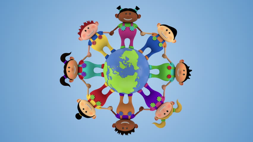 cute multi-ethnic kids holding hands around spinning globe - high quality 3d animation - loopable