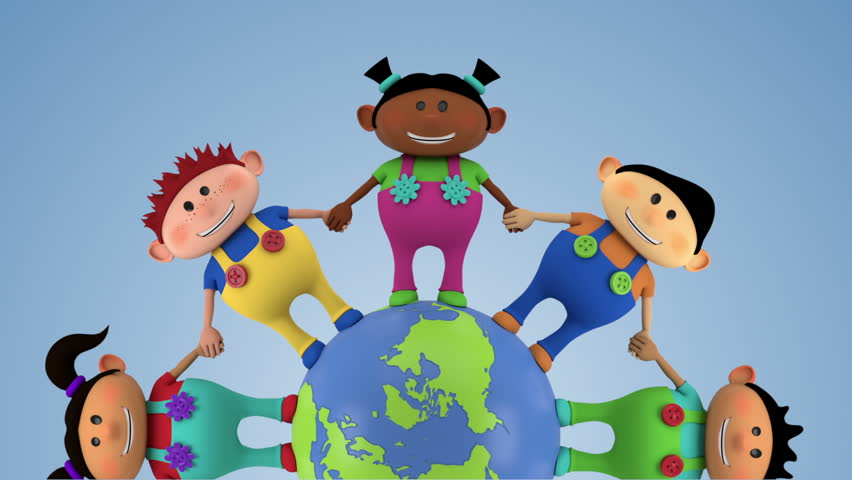 cute multi-ethnic kids holding hands around spinning globe - closer version - high quality 3d animation - loopable  - HD stock video clip