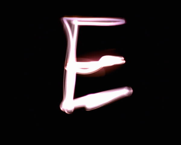 Sparkling long exposure letter E - SD stock footage clip