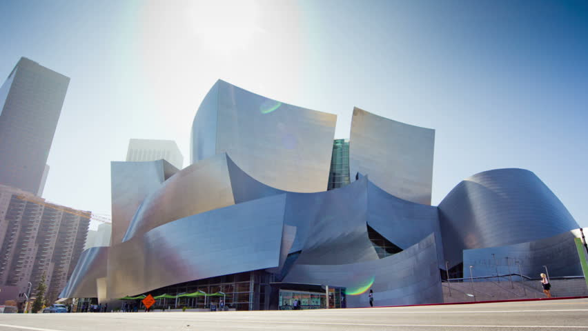 LOS ANGELES, CA - APRIL 21: Motion timelapse of Walt Disney Hall in downtown LA on April 21, 2012 in Los Angeles. Disney Hall is an internationally recognized architectural landmark. - HD stock video clip