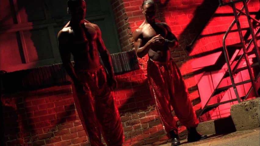 Hip hop dancers in urban setting
