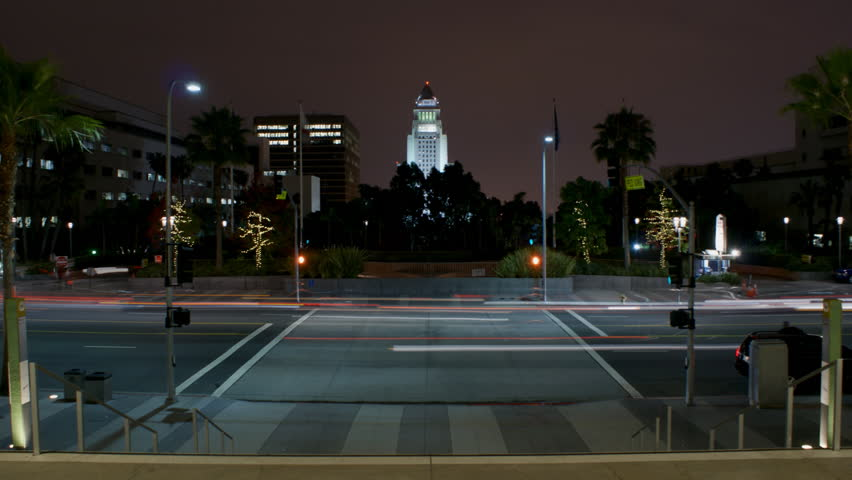 Timelapse of pedestrain crossing with City Hall, Los Angeles, California. - HD stock video clip