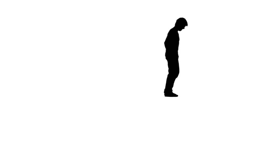 A silhouette of a man doing a back flip against a white background - HD stock video clip