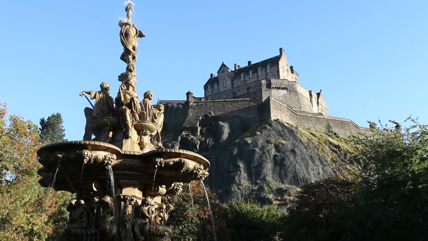 Ross Fountain and Edinburgh Castle viewed from Princes Street Gardens, Edinburgh, Scotland | Shutterstock HD Video #2272214