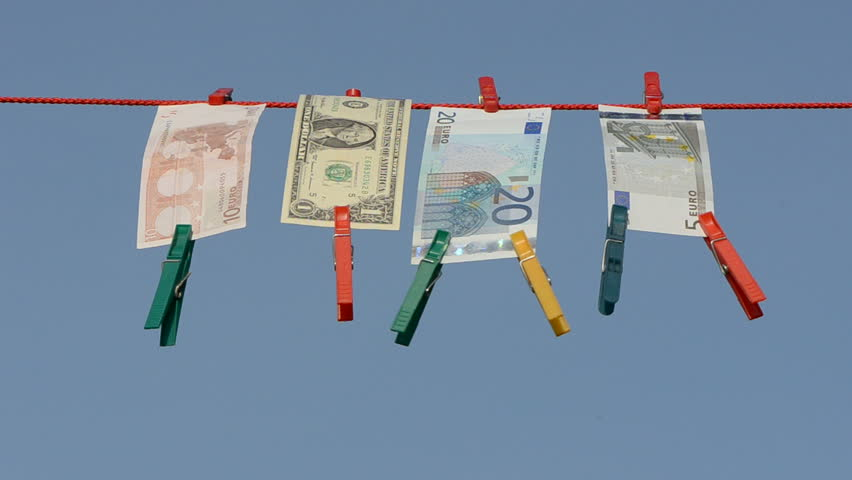 currency banknote on clothes-line after money-laundering - HD stock footage clip