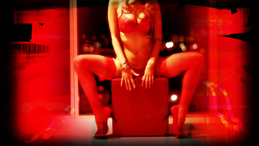 sexy erotic female in a hotel room with overlaid red light district graphics - HD stock footage clip