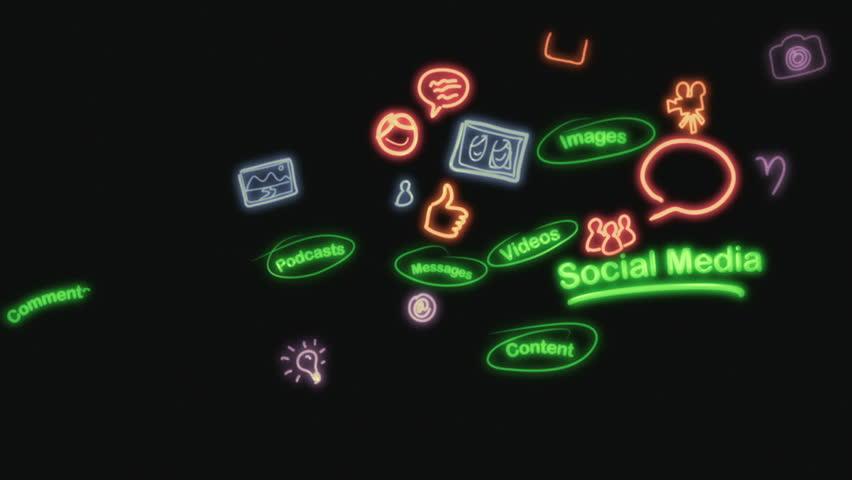 Social Media Neon Scribblings