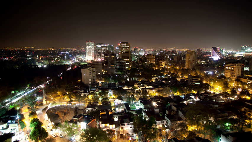 A Time-lapse Of The Mexico City Skyline At Night Stock