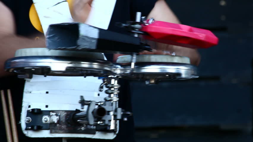 Musician playing percussion - HD stock footage clip