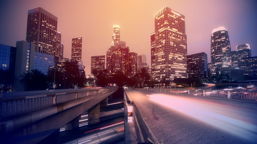 Night traffic in Los Angeles. Timelapse.