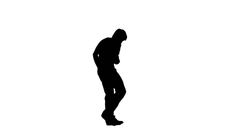A silhouette man is dancing against a white background - HD stock footage clip