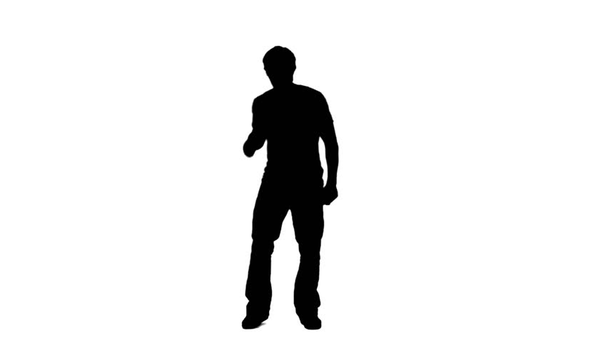 A silhouette of a man causally dancing against a white background - HD stock footage clip