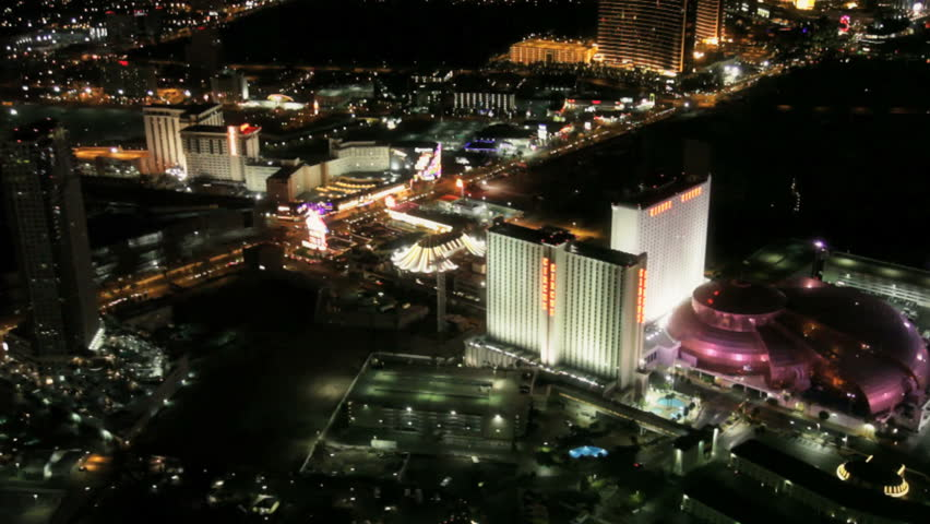 Las Vegas - Circa 2010: The Las Vegas strip in 2010. View of the Las vegas strip at night in Las Vegas, Nevada. - HD stock footage clip