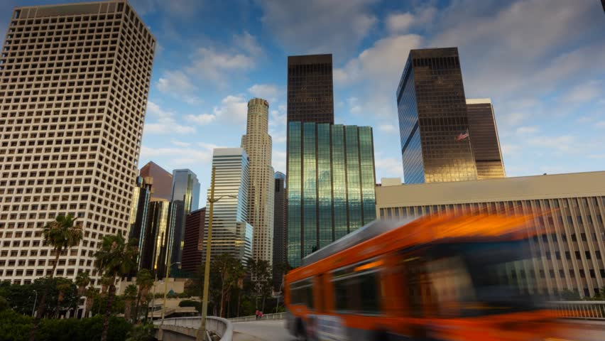 Downtown Los Angeles city. Motion timelapse hyperlapse. - HD stock video clip