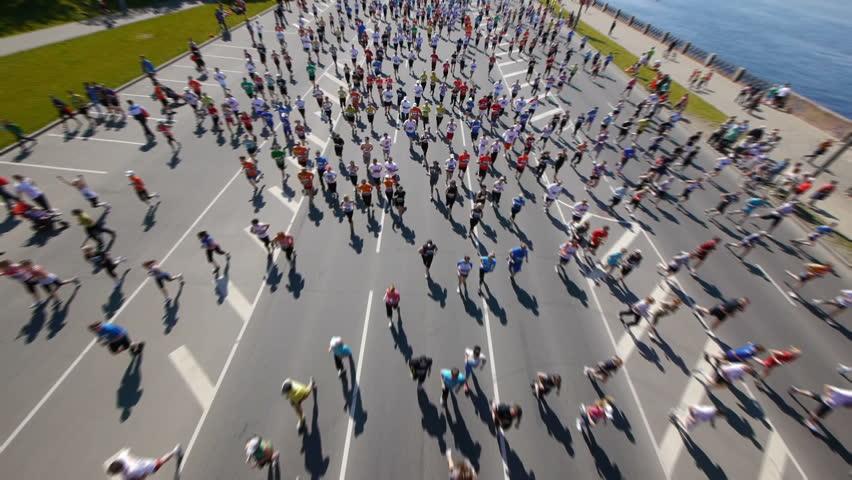 HD - City marathon. Top view - HD stock footage clip