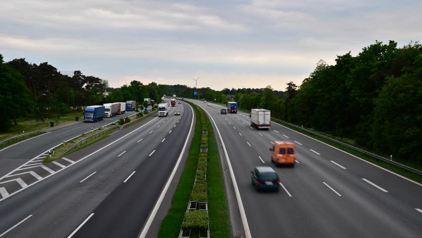 Aerial View Following A Car On A German Autobahn (motorway ...