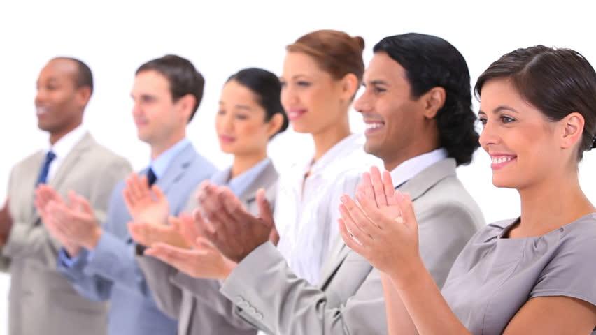 Happy Business Audience Business People Applau...