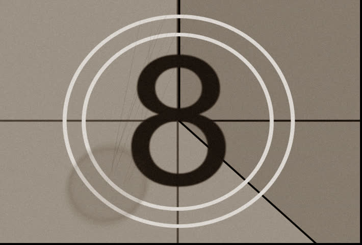 Old fashioned countdown, no. XI with film dust, scratches, hairs, and flickers.