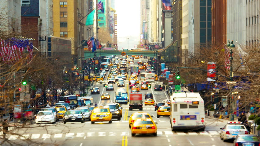 New York City Manhattan street view with busy traffic along 42nd street time lapse