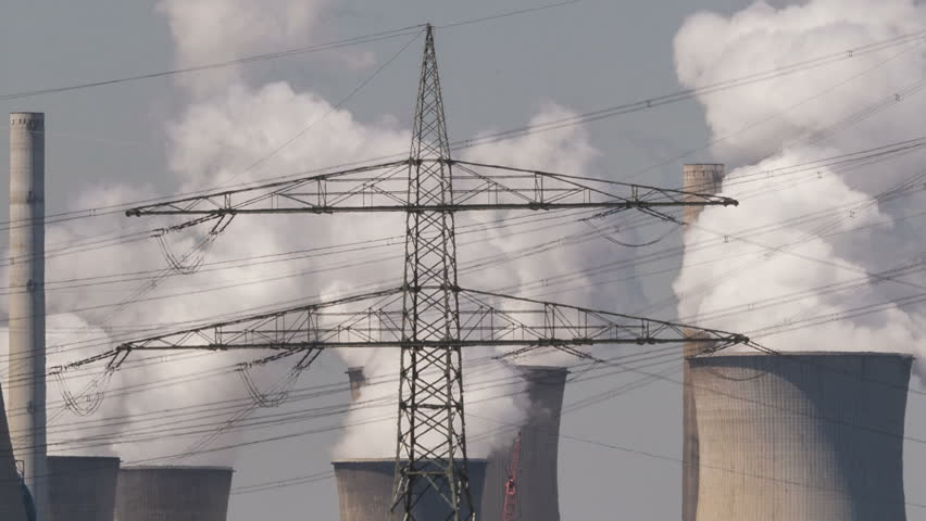 Brown coal power plant with huge cooling towers and steam - HD stock ...