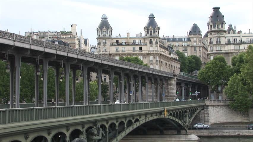 Metro train on Bir Hakeim bridge in Paris France   Shutterstock HD Video #2402111